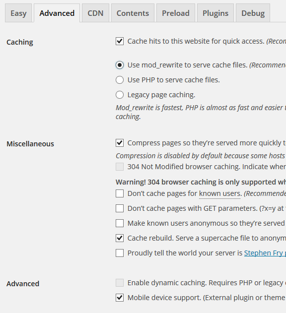 w3 super cache advanced settings